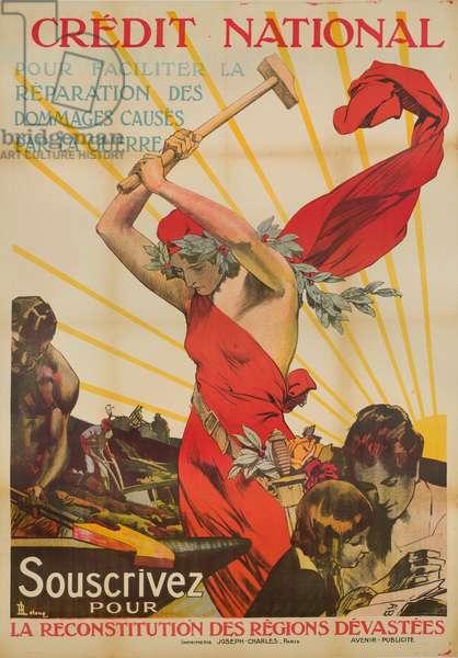 Credit National - Souscrivez pour la reconstitution des régions dévastées, c.1920 (colour litho)