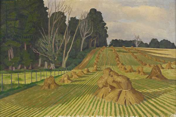 Cornfield with stocks (oil on canvas)