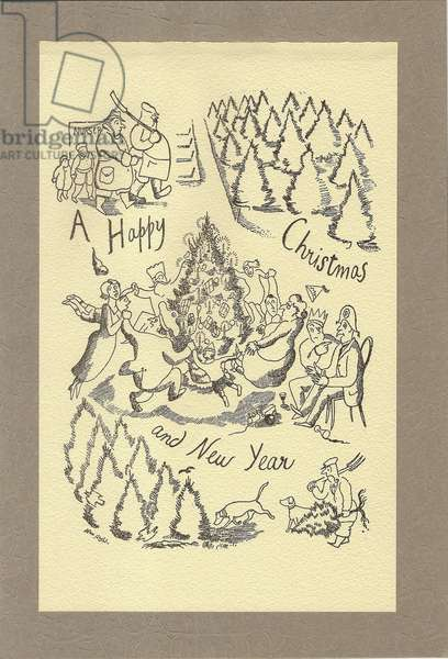 'Nursery: A Happy Christmas and New Year' (litho)