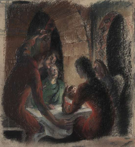Study for Composition 'Supper at Emmaus', July 1983 (pastel on card)