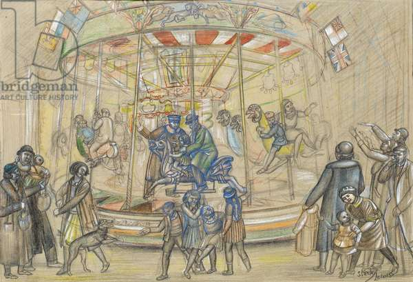 The Fun Fair at Newport, c.1925 (crayon, pencil & w/c)