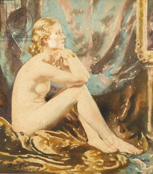 Seated Nude, c.1930 (w/c on paper)