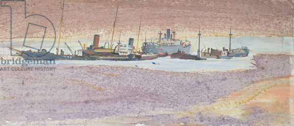 Boats arriving in harbour, c.1940 (thinned oil & w/c on paper)