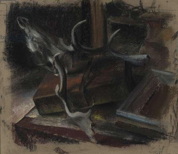 A corner of the aritst's studio (pastel on prepared board)