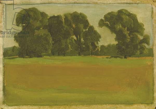 Elm Trees, Horne Park, Hampton Court, Surrey, Aug 1st 1926 (oil on board)