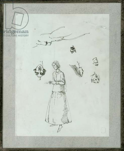 Sheet of figure studies with self-portrait, c.1922 (ink on paper)