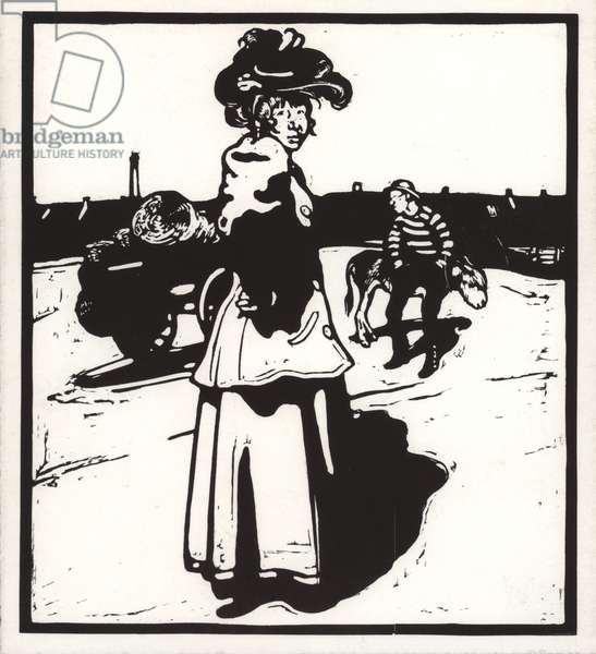 M is for Milkmaid (wood engraving)