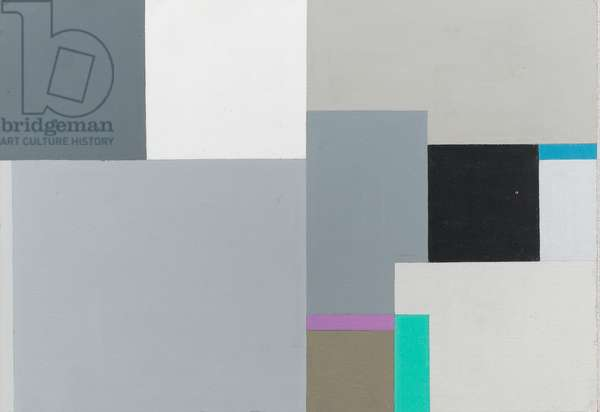 Black and grey squares with touches of blue, green and purple, 1970 (oil on panel)