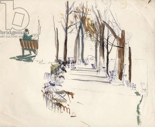 In the Tuileries Gardens (pencil, pen & gouache on paper)