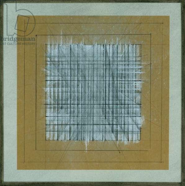 Geometric Study, c.1965 (coloured pencil & black & white chalk on paper)