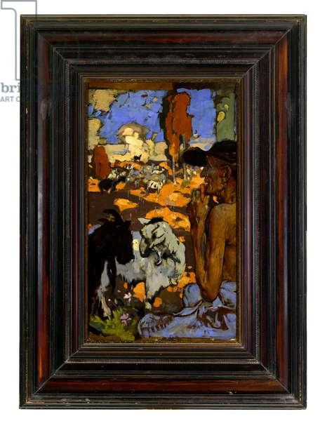 Goatherd, c.1890-1900 (oil on board)