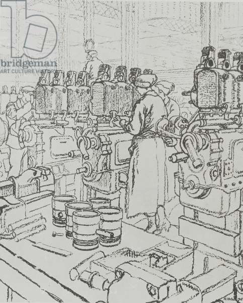 Westwood Works, Peterborough, in production during the First World War, 1918 (litho)