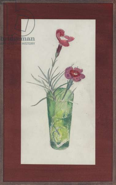 Two pink carnations in a green glass, c.1950 (w/c & gouache over pencil)