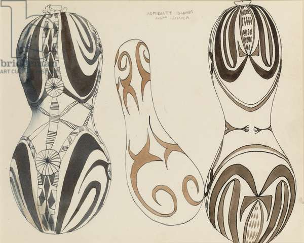Objects from the Admiralty Islands New Guinea, Natural History Museum, c.1950 (w/c on paper)