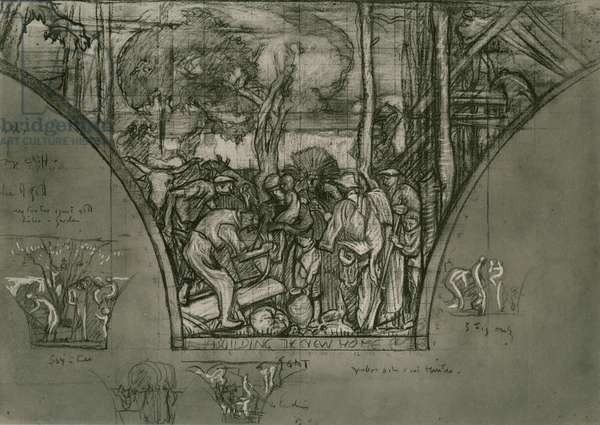 Building the new Home, study in crayon, c.1924 (litho)