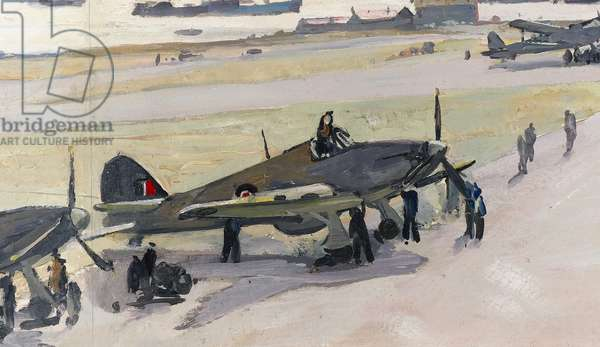 Hatson Airfield, Orkney, c.1941 (oil on paper) (detail of 244548)