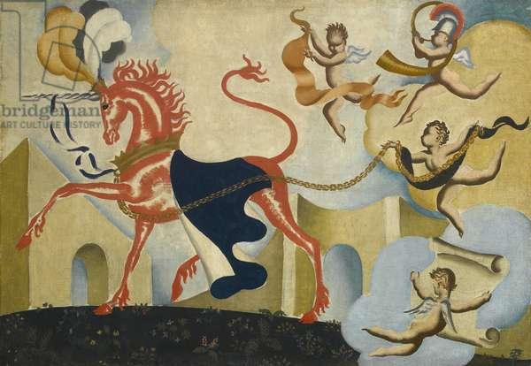Unicorn with Cherubs, c.1930 (oil on canvas)