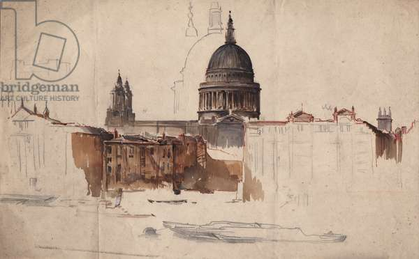 Study for St Paul's Cathedral (pencil & w/c on paper)