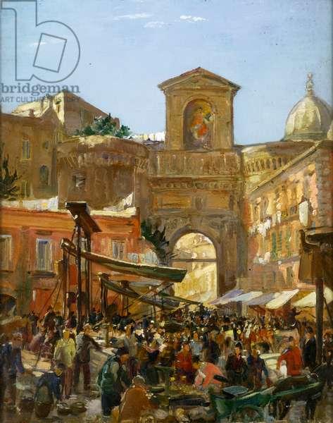 Porta Capuana, Naples, 1920's (oil on panel)