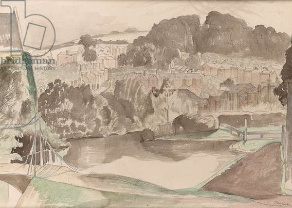 The River at Bures, Suffolk, c.1935 (pencil & w/c on paper) (for detail see 244531)