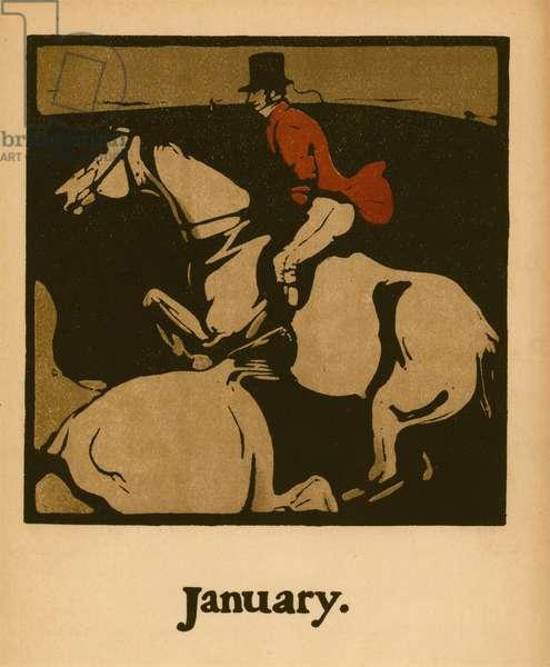 Hunting (January), c.1898 (colour litho)