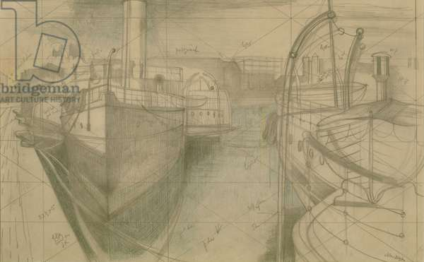 Study for 'Nocturne: Bristol Docks', c.1938 (pencil & coloured pencil on paper)