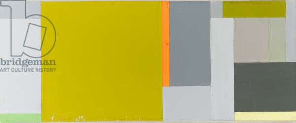 Untitled oblong, grey blue yellow, c.1970 (alkyd on panel)
