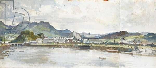 Porthmadog Harbour, Gwynedd (oil on paper)