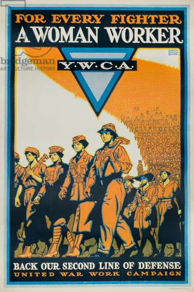 For Every Fighter a Woman Worker - Back Our Second Line of Defense, 1918 (colour litho)