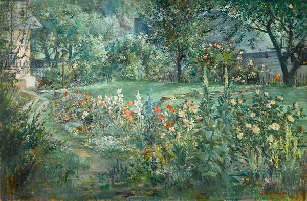 The Artist's Garden, at Barnyard Cottage, Houghton c.1960 (oil on canvas)