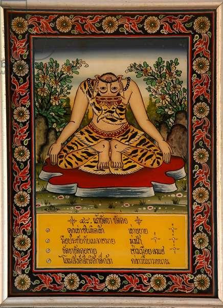 Folk painting depicting a rishi, or hermit, practising yoga