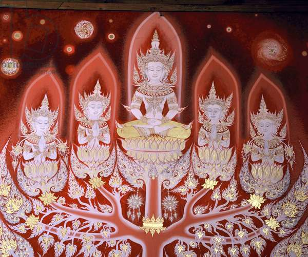 Lanna style mural (wall painting) (detail of 389990)