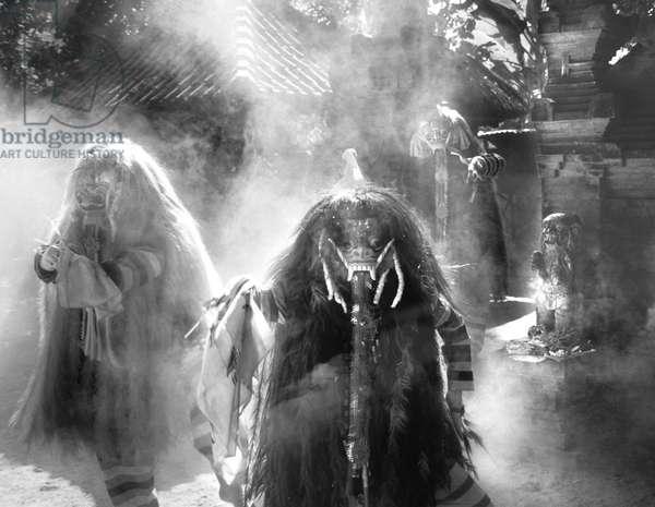 Rangda dancers (b/w photo)