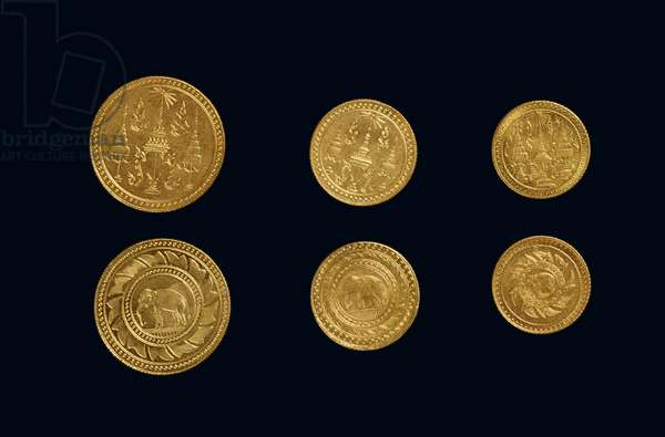 Coins from the reign of King Rama V (gold)