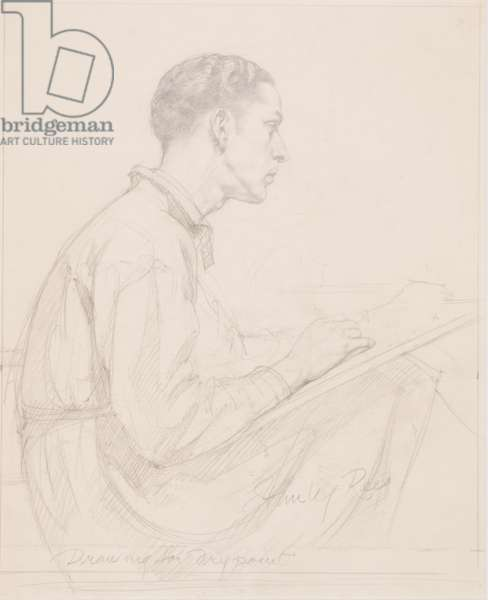 Self portrait: Drawing for drypoint (pencil on paper)