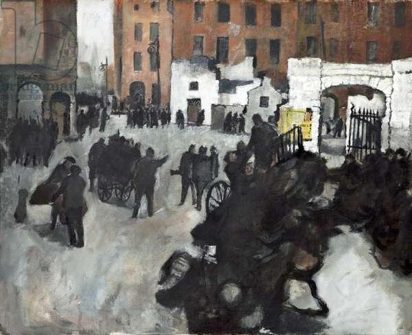 Barricade Building (oil on canvas)