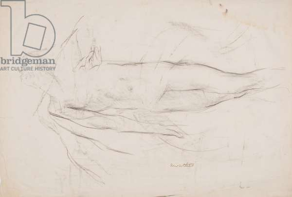 Life drawing of man, head held back, arm in several positions (charcoal on paper)