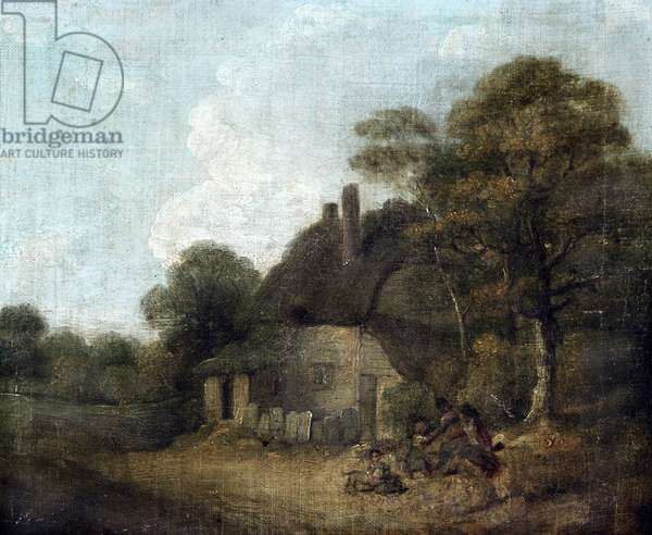 Country Cottage with Figures (oil on canvas)
