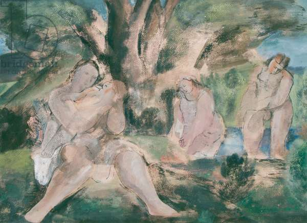 Three women and child bathing under a tree (w/c & ink on paper)
