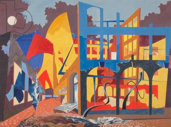 Buildings ablaze in Church Street, Liverpool (gouache on paper)