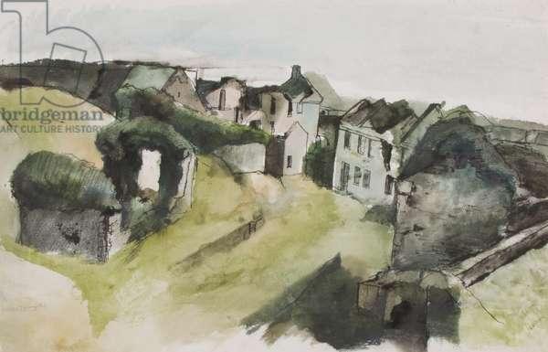 Deserted Welsh village (w/c & ink on paper)