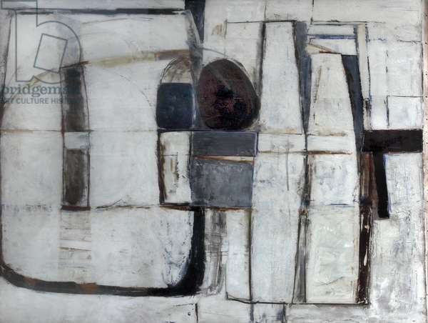 Enclosed Forms, Brown and Blue, 1965 (oil on canvas)