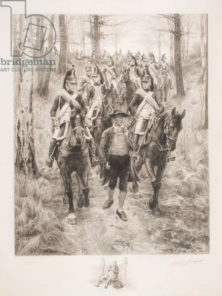 French cavalry traveling through woods with guide, engraved by Achilles Jacquet (1846-1908) (etching)