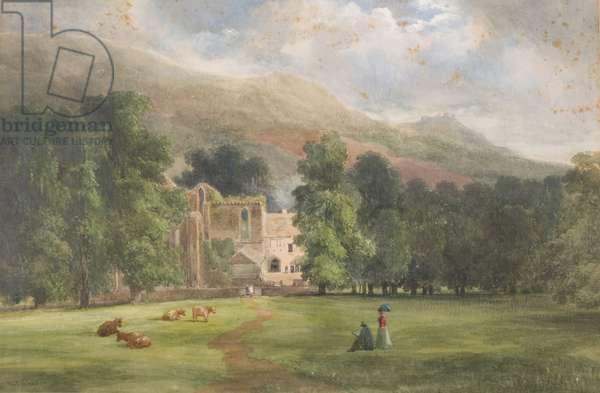 Valle Crucis or Dinas Bran, Llangollen, 1872 (w/c on paper)