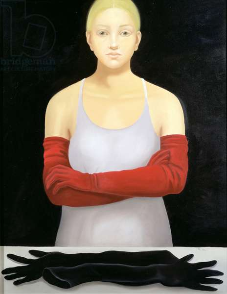 Girl with Red Gloves, 2001 (oil on canvas)