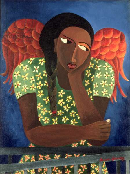 Black Girl with Wings (acrylic on canvas)