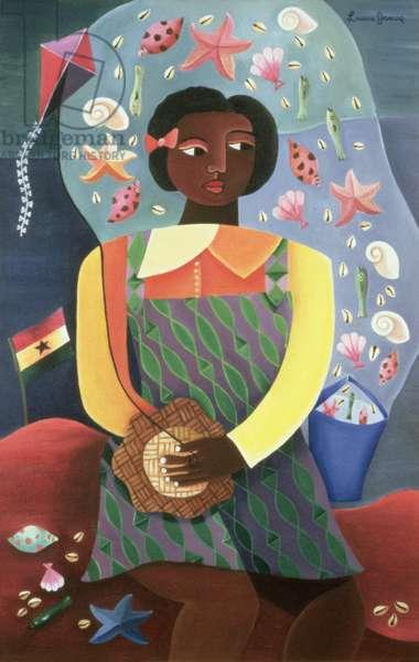 Girl at Ghana Beach, 1998 (acrylic on canvas)