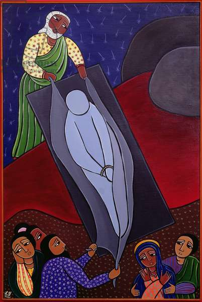 Jesus is Laid in the Tomb, no. 14 in '14 Stations of the Cross' series, 2002 (acrylic on canvas) (see also 192720-732)