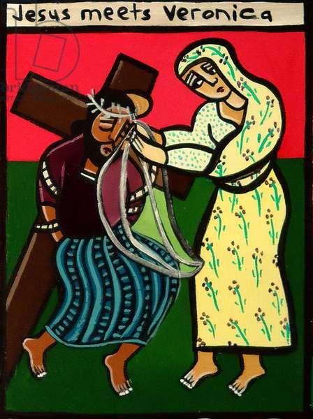 Jesus meets Veronica, 2006 (acrylic on canvas board)