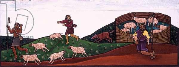 The Good Shepherd and His Flock (acrylic on canvas)